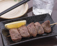 Grilled pork tongue skewer