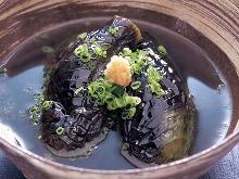 Deep-fried eggplant in broth