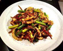 Stir-fried squid tentacles