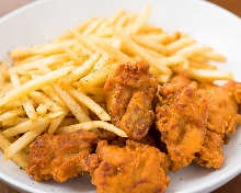 Fried chicken with French fries