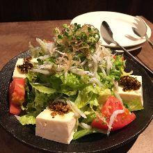 Salad with tofu and boiled whitebait and baby sardine