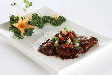 鹿肉黒胡椒炒め