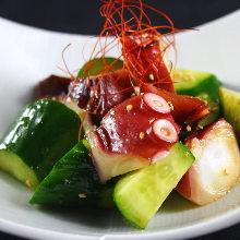 Food dressed with sesame