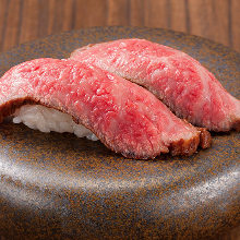 Wagyu beef nigiri sushi