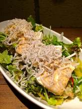 Tofu and baby sardine salad