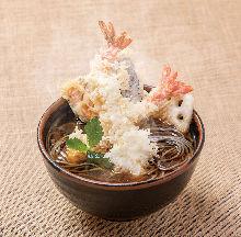 Shrimp tempura on buckwheat noodles