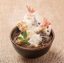 Shrimp tempura on buckwheat noodles