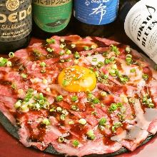 Seared wagyu beef tartare