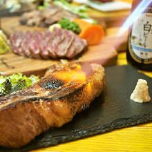 Seared pork steak