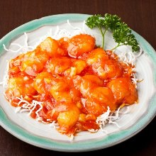 Stir-fried shrimp in chili sauce