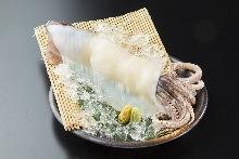 Squid sugata-zukuri (sliced sashimi served maintaining the look of the whole squid)