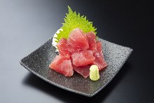 Tuna cut into chunks