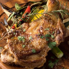 Charcoal grilled locally raised chicken