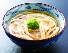 Wheat noodles with a topping