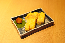 Japanese style rolled omelet with Japanese leek