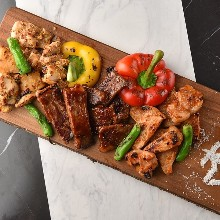 Assorted charcoal grilled meat