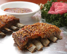 Grilled lamb spare ribs