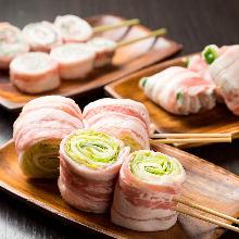 Grilled rolled vegetable skewers