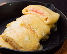 Japanese-style rolled omelet with marinated cod roe