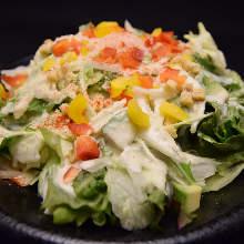 Caesar salad with smoked salmon and avocado