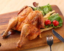 Raost whole chicken with salt flavor