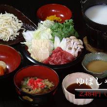 Yuba (tofu skin) shabu-shabu meal set