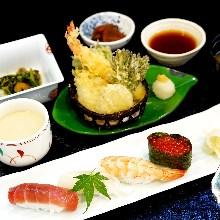 Sushi and tempura set meal