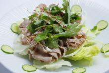 Lamb shabu-shabu and coriander salad with sesame dressing