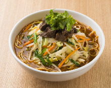 Simmered lamb ramen with spicy soy sauce soup