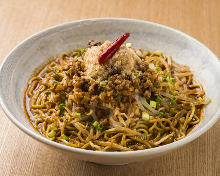 Chilled Sichuan-style noodles topped with lamb meat sauce
