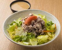 Chilled Chinese noodles topped with lamb shabu-shabu