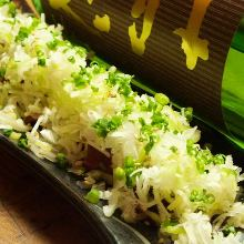 Tuna covered with green onion