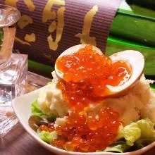 Egg-topped potato salad