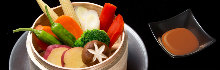 Assorted steamed vegetables with original dipping sauce
