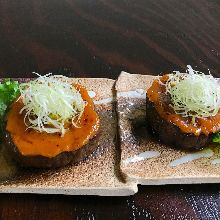 Grilled red eggplant with miso paste