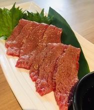 Seared edible raw beef