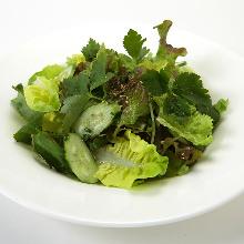 Salad seasoned with salt