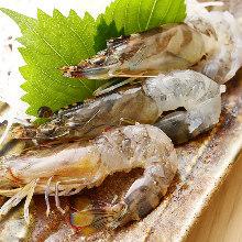 Live Japanese tiger prawn sashimi