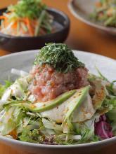 Negi toro (tuna paste with scallions) and avacado tofu salad