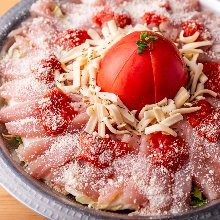 White broth hotpot with chicken tenderloin, tomato, and cheese