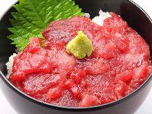 Seafood rice bowl with backbone flesh