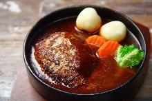 Beef tongue hamburger steak