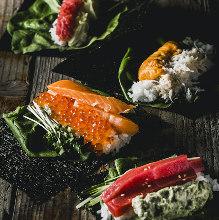 Hand-rolled fatty tuna and pickled radish sushi