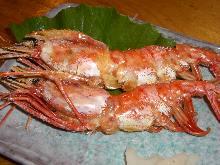 Salted and grilled botan shrimp