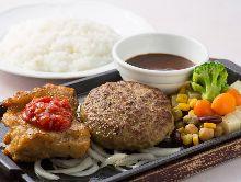 Chicken steak and hamburg steak combo