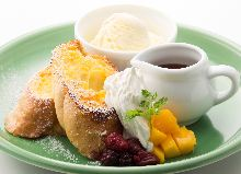 French toast with vanilla ice cream