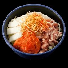 Pork, rice cake, and cod roe monja