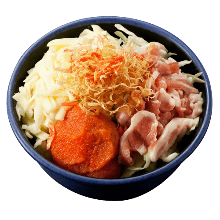 Pork, cheese, and spicy cod roe monja