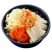 Spicy cod roe, mochi, and cheese monja