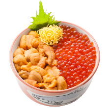 Sea urchin and salmon roe rice bowl